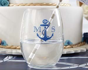 Nautical stemless wine glasses